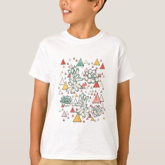 Succulent and triangles seamless pattern T-Shirt