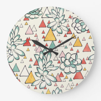 Succulent and triangles Wall Clock