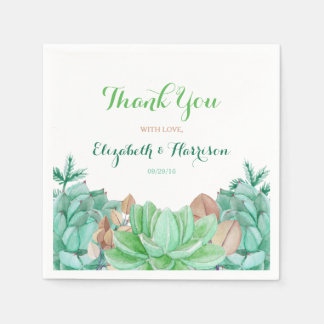 Succulent Bouquet Botanical Floral Wedding Disposable Napkin