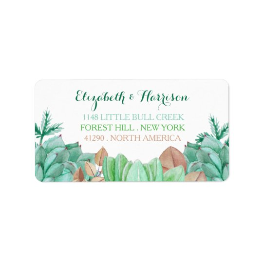 Succulent Bouquet Botanical Floral Wedding Label