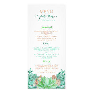 Succulent Bouquet Botanical Floral Wedding Menu