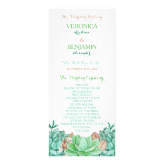 Succulent Bouquet Botanical Floral Wedding Program