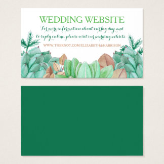 Succulent Bouquet Botanical Floral Wedding Website Business Card