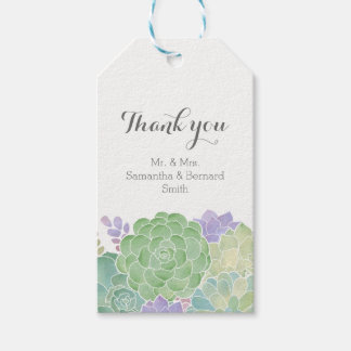 Succulent Bouquet Elegant Wedding Thank You Tag