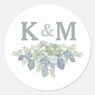 Succulent Bouquet Floral Wedding Initials Sticker