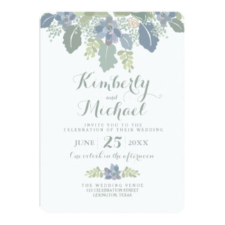 Succulent Bouquet Floral Wedding Invitation