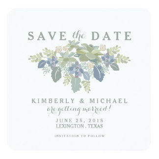 "Succulent Bouquet Floral Wedding Save the Date 5.25"" Square Invitation Card"