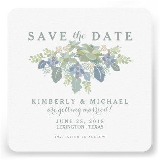 Succulent Bouquet Floral Wedding Save the Date Invitation