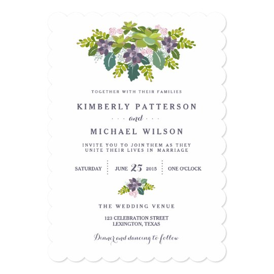 Succulent Bouquet II Floral Wedding Invitation