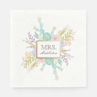 Succulent Bouquet Watercolor | Custom Name Disposable Napkins