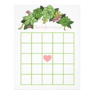 Succulent Bridal Shower Bingo Game Personalized Letterhead