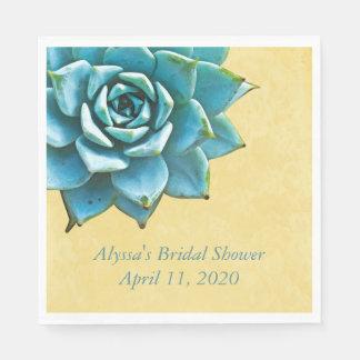 Succulent Bridal Shower Watercolor Yellow Lace Paper Napkin