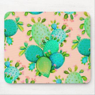 Succulent Cactus Floral Watercolor Mouse Pad