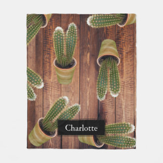 Succulent Cactus in Pots and Dark Wooden Planks Fleece Blanket