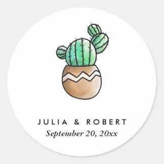 Succulent Cactus Rustic Minimal Wedding Round Sticker