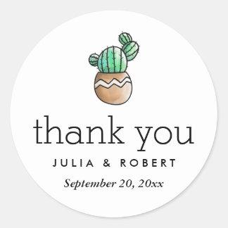 Succulent Cactus Rustic Minimal Wedding Thank You Classic Round Sticker