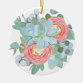 Succulent Ceramic Ornament