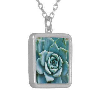 Succulent Closeup Silver Plated Necklace