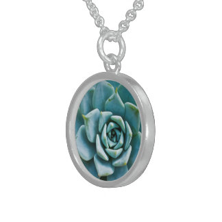 Succulent Closeup Sterling Silver Necklace