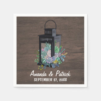 Succulent Country Rustic Lantern Wedding Napkins Disposable Napkin