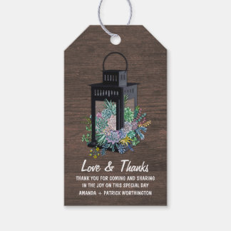 Succulent Country Rustic Lantern Wedding Thank You Gift Tags