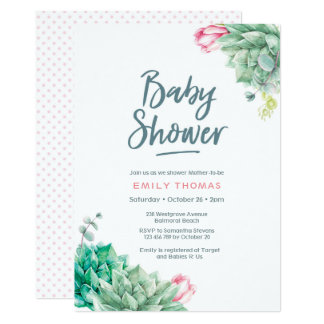Succulent florals Girl Baby Shower Invitation