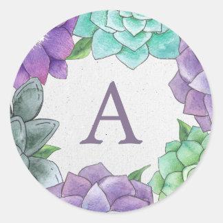 Succulent Florals Monogram Stickers | Lavender