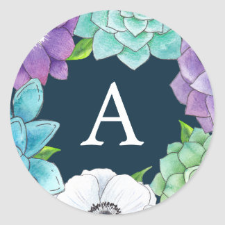 Succulent Florals Monogram Stickers | Navy