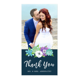 Succulent Florals Wedding Thank You Card   Navy Personalized Photo Card