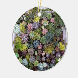 Succulent garden design round ceramic ornament