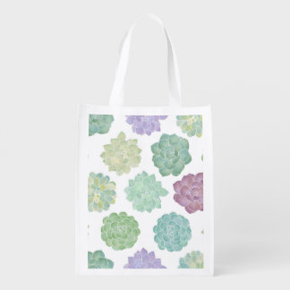 Succulent Garden Pattern Reusable Grocery Bag