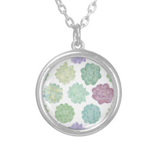 Succulent Garden Pattern Silver Plated Necklace