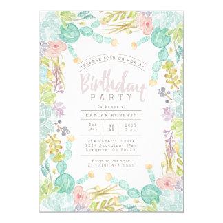 Succulent Garden Watercolor | Birthday Party Card