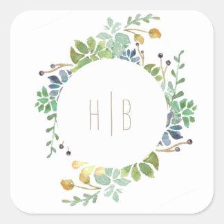 Succulent Garden | Watercolor Initial Square Sticker