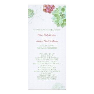 Succulent Garden Wedding Program Rack Card