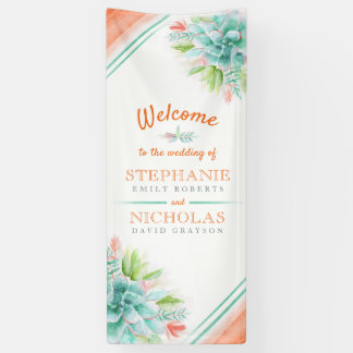 Succulent green orange wedding art welcome banner