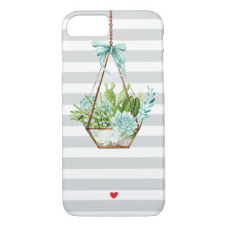 Succulent Greenery White Gray Stripes Chic Modern Case-Mate iPhone Case