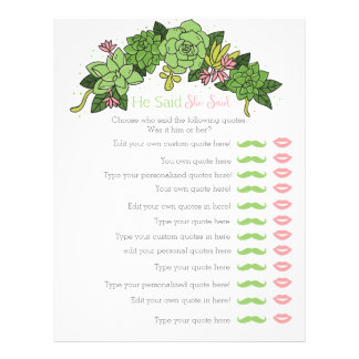 Succulent he said she said bridal shower game personalized letterhead