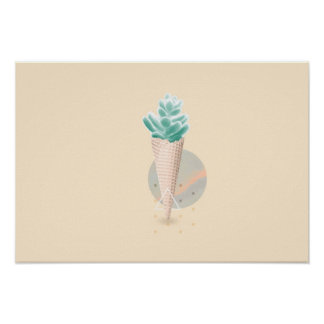 Succulent ice cream cone poster