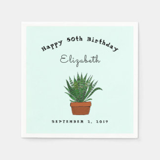 Succulent Illustration Birthday Party Napkins Disposable Napkin