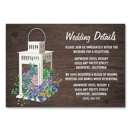 Succulent Lantern Wedding Reception Insert Cards