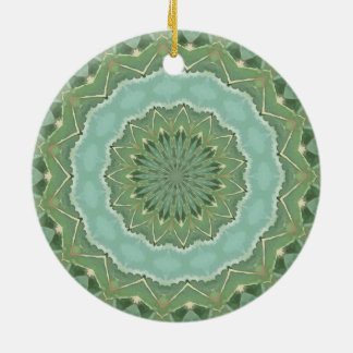 Succulent Mandala Ceramic Ornament