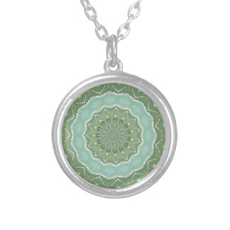 Succulent Mandala Silver Plated Necklace