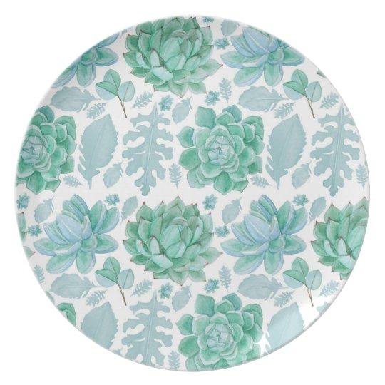 Succulent pattern plastic plate, botanical theme plate