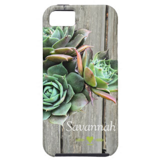 Succulent Personalized Barnwood iphone 5 case