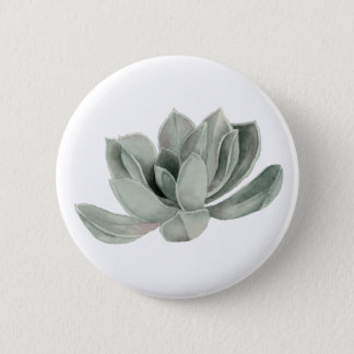 Succulent Plant Watercolor Painting 2 Inch Round Button