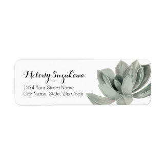 Succulent Plant Watercolor Painting Customizable Return Address Label