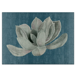 Succulent Plant Watercolor Painting Cutting Board