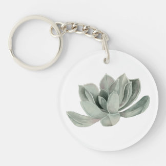 Succulent Plant Watercolor Painting Keychain