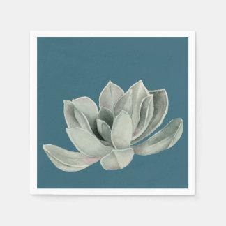 Succulent Plant Watercolor Painting Napkin
